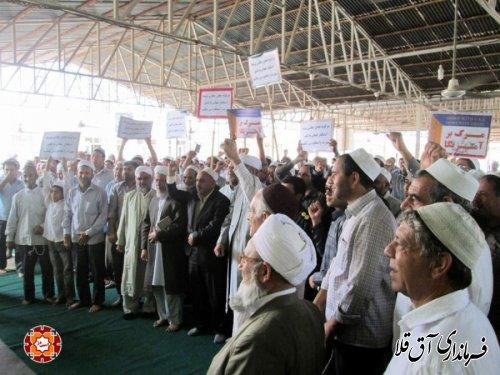 تجمع اعتراض آمیز نمازگزاران شهرستان آق قلا علیه جنایات غزه