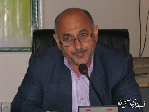 پیام تشکر طاهر قربان دلیجه بخشدار مرکزی آق قلا از مردم شریف شهرستان