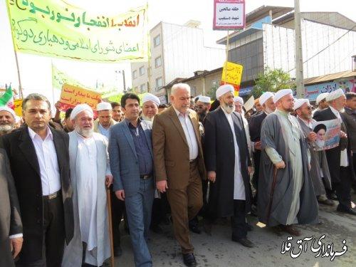 حماسه حضور مردم شهرستان آق قلا در راهپیمایی 22 بهمن