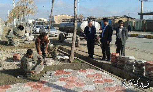 بازدید فرماندار شهرستان آق قلا از طرح موزائیک فرش شهرداری انبارالوم