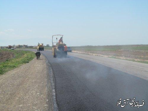 عملیات آسفالت 6 کیلومتر از محور قدیم آق قلا - گنبدکاووس آغاز شد