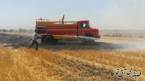 مهار آتش سوزی باقیمانده کاه و کلش در 30  هکتار از مزارع کشاورزی