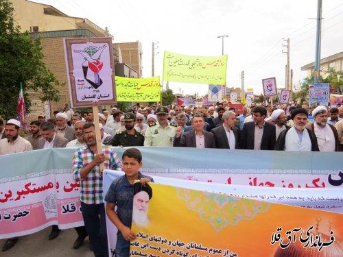 مراسم راهپیمایی روز جهانی قدس در شهر آق قلا برگزار شد