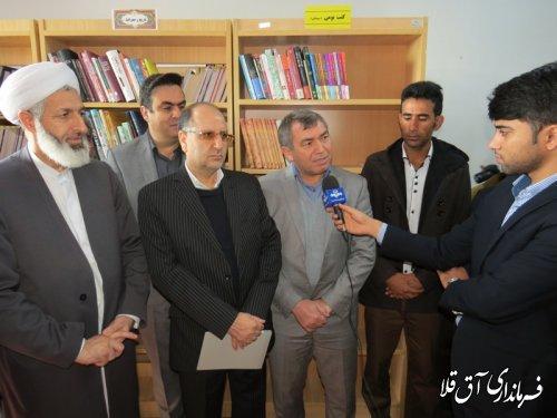 """کتابخانه عمومی """"فرخی سیستانی"""" روستای انقلاب شهرستان آق قلا افتتاح شد"""