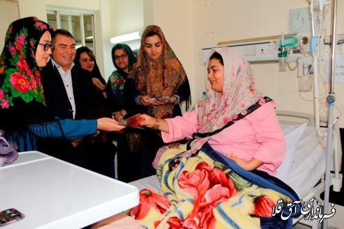 عیادت فرماندار شهرستان آق قلا از بیماران بیمارستان آل جلیل