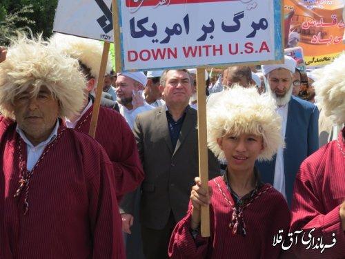 مراسم راهپیمایی روز جهانی قدس شهر آق قلا به روایت تصویر