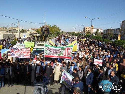 مراسم راهپیمایی روز ملی مبارزه با استکبار جهانی در شهر آق قلا برگزار شد