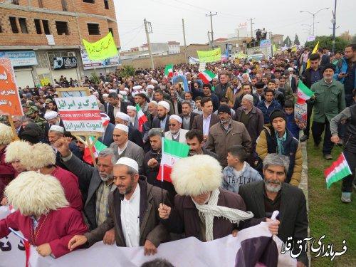 مراسم راهپیمایی یوم الله ۲۲ بهمن و جشن چهلمین سالگرد پیروزی انقلاب اسلامی در شهر آق قلا برگزار شد