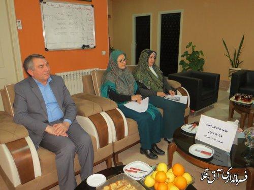 جلسه هماهنگی ایجاد بازارچه بانوان در شهر آق قلا برگزار شد