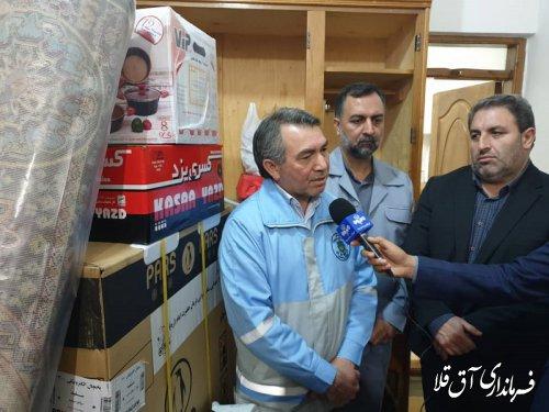 اولین مرحله توزیع اقلام اهدایی مقام معظم رهبری به سیل زدگان شهرستان آق قلا آغاز شد