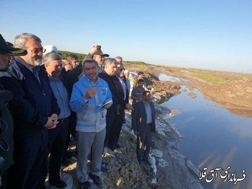 وزیر کشور از سیل بند بالقی شهر آق قلا بازدید بعمل آورد