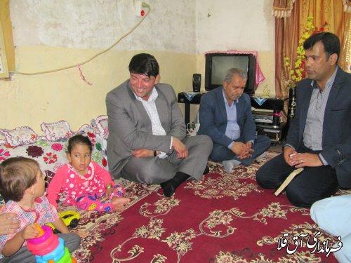 فرماندار شهرستان آق قلا با خانواده دو معلول روستای تازه آباد بخش وشمگیر دیدار کرد