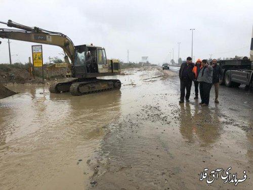 آبگرفتگی اتوبان گرگان به آق قلا، حدفاصل روستای قربان آباد مدیریت شد
