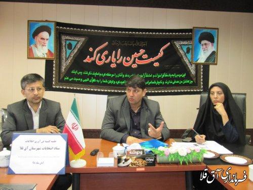 جلسه کمیته فن آوری اطلاعات ستاد انتخابات شهرستان آق قلا برگزار شد