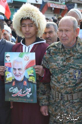 مراسم راهپیمایی یوم الله ۲۲ بهمن در شهر آق قلا برگزار شد