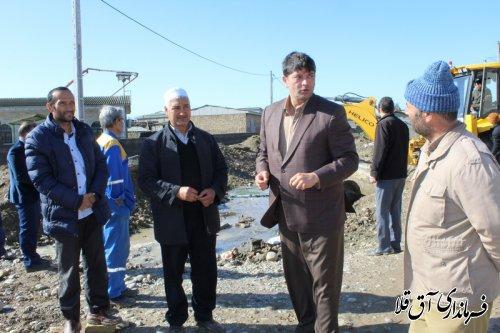 فرماندار و رئیس ستاد مدیریت بحران از سطح شهر آق قلا بازدید بعمل آورد