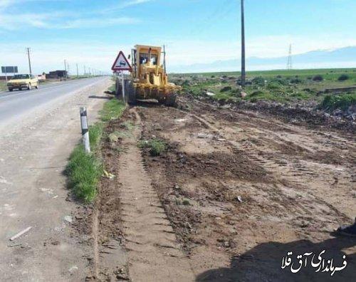 آغاز عملیات اجرایی تعریض مسیر غرب شهرستان و محور آق قلا به بندر ترکمن