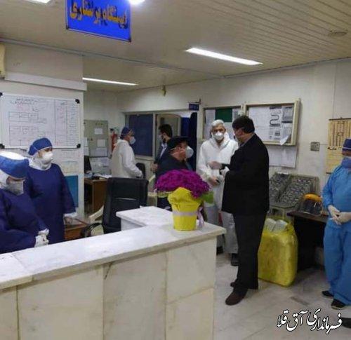 فرماندار و رئیس کارگروه سلامت،با کادر درمانی بیمارستان آل جلیل شهر آق قلا دیدار کرد