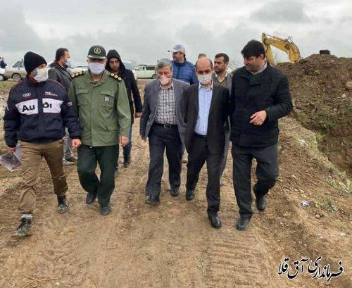 استاندار گلستان از روند اجرای دایک حفاظتی یلمه خندان شهرستان آق قلا بازدید کرد
