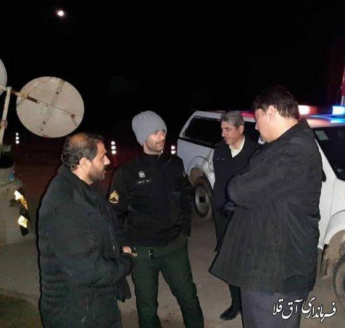 گشت شبانه فرماندار از ممنوعیت تردد و کنترل ورودی و خروجی های شهرستان آق قلا
