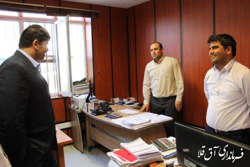 نماینده عالی دولت بصورت سرزده از اداره دارایی شهرستان آق قلا بازدید بعمل آورد
