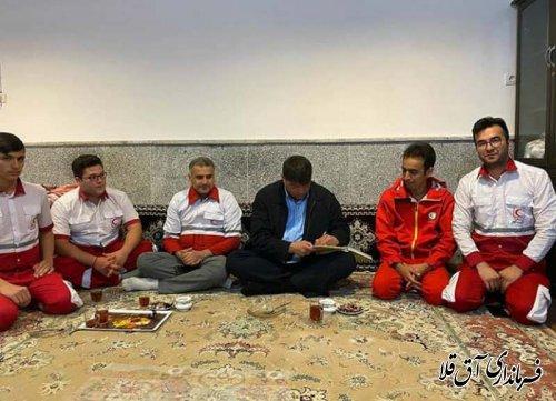 فرماندار و رئیس ستاد مدیریت بحران با جمعیت هلال احمر شهرستان آق قلا دیدار کرد