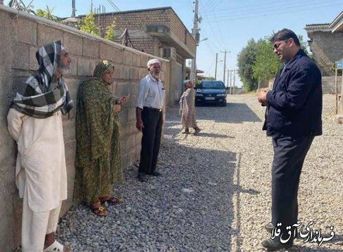 نماینده عالی دولت از روستاهای تپه ظهوریان و سازمان شاکریان شهرستان آق قلا بازدید میدانی بعمل آورد