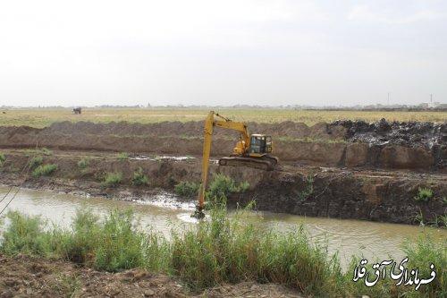 آغاز عملیات لایروبی رودخانه گرگان رود،حدفاصل محله خزانه بطول 4 کیلومتر و اعتبار 12 میلیارد ریال