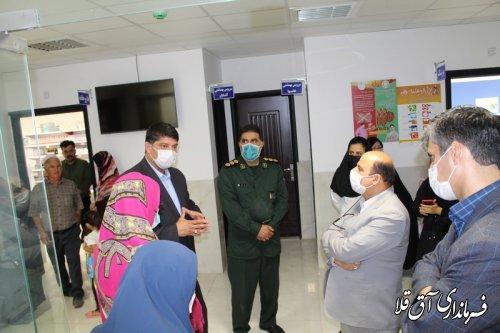 فرماندار و رئیس ستاد مقابله با کرونا،از مرکز تشخیص بیماری کووید 19 شهر آق قلا بازدید کرد
