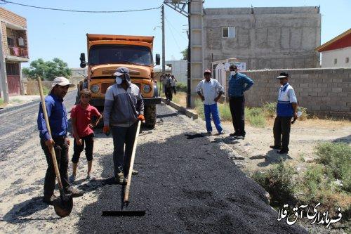 آغاز عملیات آسفالت 400 متر طول از معابر روستای یامپی با اعتبار 390 میلیون تومان