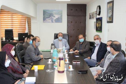 جلسه تعیین تکلیف زمین درمانگاه تامین اجتماعی شهرستان آق قلا برگزار شد